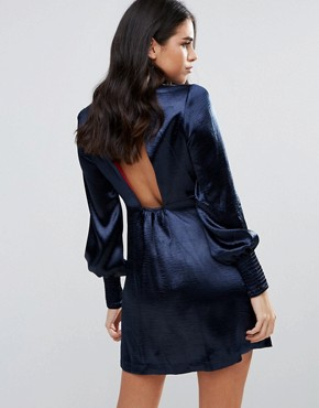 photo Bell Sleeve Satin Shift Dress by Traffic People, color Navy - Image 2