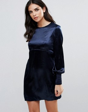 photo Bell Sleeve Satin Shift Dress by Traffic People, color Navy - Image 1