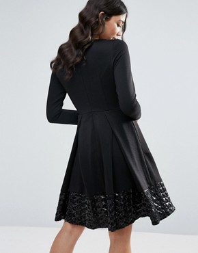 photo Long Sleeve Skater Dress with Pleat Detail by Traffic People, color Black - Image 2