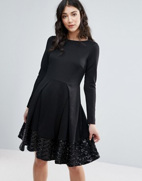 photo Long Sleeve Skater Dress with Pleat Detail by Traffic People, color Black - Image 1