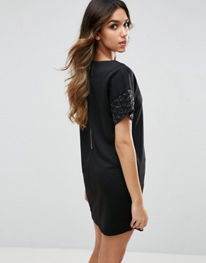 photo Short Sleeve Shift Dress with Embellished Detail by Traffic People, color Black - Image 2