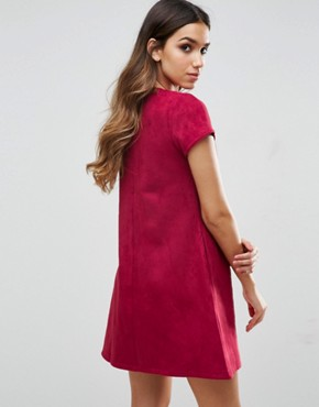 photo Short Sleeve Shift Dress by Traffic People, color Wine - Image 2