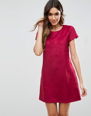 photo Short Sleeve Shift Dress by Traffic People, color Wine - Image 1