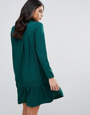 photo High Neck Drop Hem Dress by Traffic People, color Green - Image 2