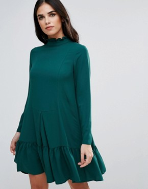 photo High Neck Drop Hem Dress by Traffic People, color Green - Image 1