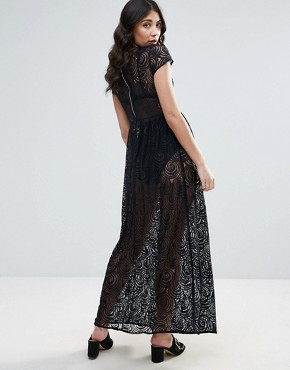 photo Lace Maxi Dress by Traffic People, color Black - Image 2