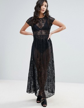 photo Lace Maxi Dress by Traffic People, color Black - Image 1