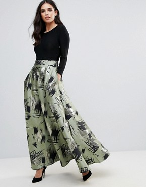 photo Maxi Dress with Contrast Printed Skirt by Traffic People, color Green - Image 1