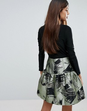 photo Skater Dress with Contrast Printed Skirt by Traffic People, color Green - Image 2