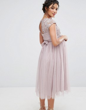 photo Crochet Bodice Prom Dress with Tulle Skirt by Little Mistress Maternity, color Mauve - Image 2