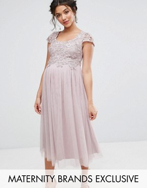 photo Crochet Bodice Prom Dress with Tulle Skirt by Little Mistress Maternity, color Mauve - Image 1