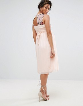 photo Floral Embroidered Skater Dress with Tulle Skirt by Little Mistress Maternity, color Nude - Image 2