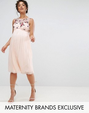 photo Floral Embroidered Skater Dress with Tulle Skirt by Little Mistress Maternity, color Nude - Image 1