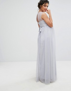 photo Maxi Dress with Pearl Embellished Bodice by Little Mistress Maternity, color Grey - Image 2
