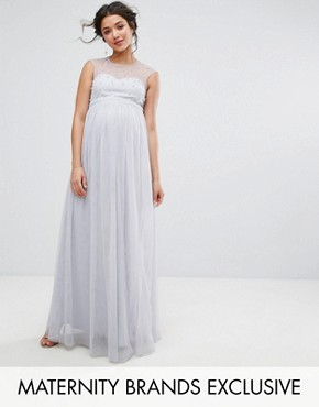 photo Maxi Dress with Pearl Embellished Bodice by Little Mistress Maternity, color Grey - Image 1