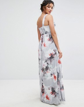 photo Plunge Front Maxi Dress in Floral by Little Mistress Maternity, color Multi - Image 2