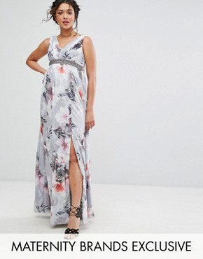 photo Plunge Front Maxi Dress in Floral by Little Mistress Maternity, color Multi - Image 1