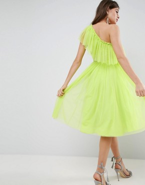 photo Tulle One Shoulder Midi Dress by ASOS, color Lime - Image 2