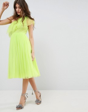 photo Tulle One Shoulder Midi Dress by ASOS, color Lime - Image 1