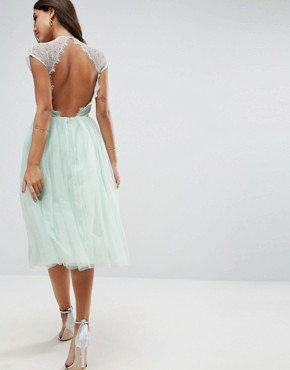 photo Lace Tulle Midi Prom Dress by ASOS PREMIUM, color Mint Blue - Image 2