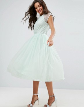 photo Lace Tulle Midi Prom Dress by ASOS PREMIUM, color Mint Blue - Image 1