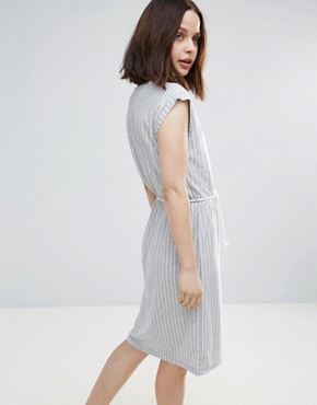 photo Striped Skater Dress with Belt by Soaked in Luxury, color Light Grey - Image 2