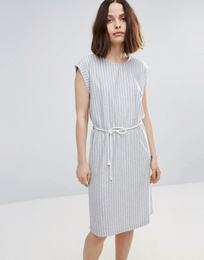 photo Striped Skater Dress with Belt by Soaked in Luxury, color Light Grey - Image 1