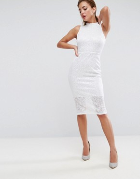 photo Lace High Neck Tie Back Midi Dress by ASOS, color White - Image 2