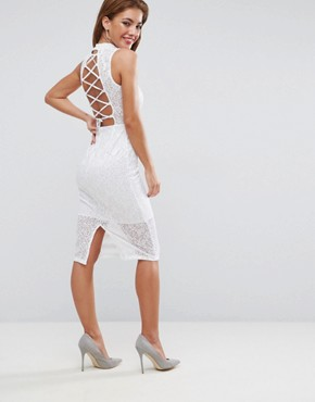 photo Lace High Neck Tie Back Midi Dress by ASOS, color White - Image 1