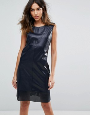 photo Aswedy Faux Leather Dress by BOSS Orange, color Dark Blue - Image 1