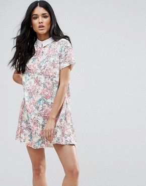 photo Short Sleeve Floral Shift Dress with Collared Detail by Endless Rose, color Pink Multi - Image 1