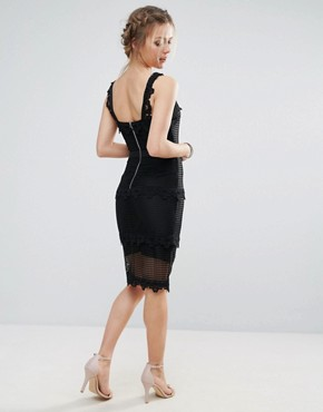 photo Lace Panelled Midi Pencil Dress by Endless Rose, color Black - Image 2