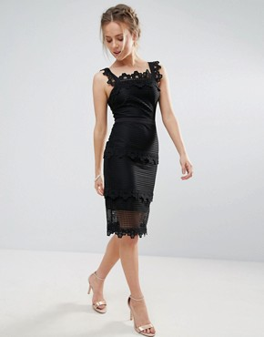 photo Lace Panelled Midi Pencil Dress by Endless Rose, color Black - Image 1