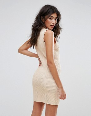 photo High Neck Textured Bodycon Dress by Endless Rose, color Nude Pink - Image 2