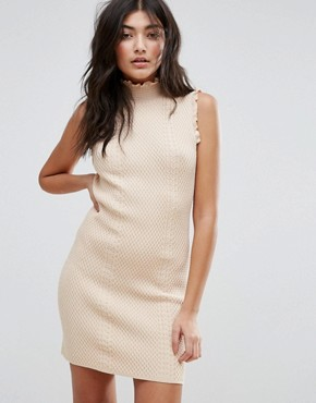 photo High Neck Textured Bodycon Dress by Endless Rose, color Nude Pink - Image 1