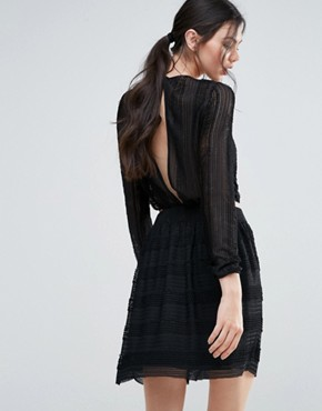 photo Long Sleeve Textured Skater Dress by Endless Rose, color Black - Image 2