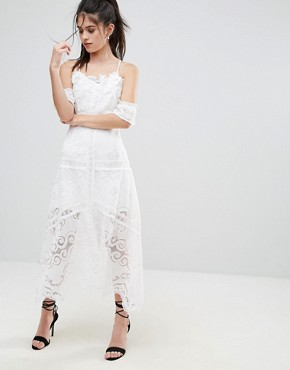 photo Cold Shoulder Lace Dress by Foxiedox, color White - Image 1