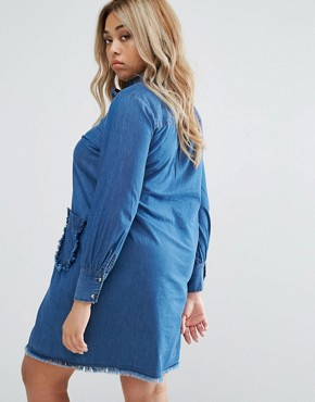 photo Denim Swing Dress with Frayed Pockets by Lost Ink Plus, color Blue - Image 2