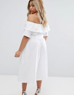 photo Bardot Ruffle Prairie Dress with Tie Waist by Lost Ink Plus, color White - Image 2