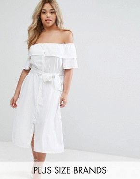 photo Bardot Ruffle Prairie Dress with Tie Waist by Lost Ink Plus, color White - Image 1