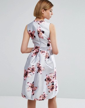 photo Floral Skater Dress by QED London, color Grey - Image 2
