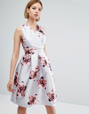 photo Floral Skater Dress by QED London, color Grey - Image 1