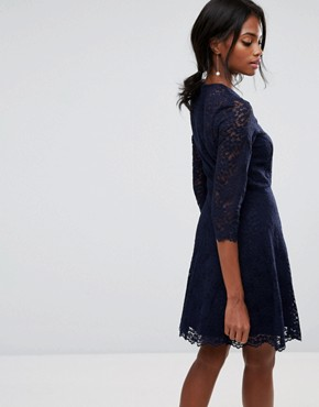 photo Lace Sleeve Skater Dress by Oasis, color Navy - Image 2