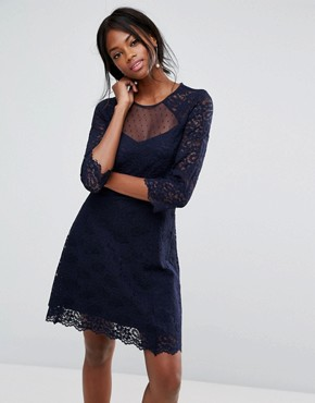 photo Lace Sleeve Skater Dress by Oasis, color Navy - Image 1