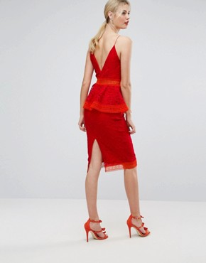 photo Colourblock Lace Peplum Midi Dress by ASOS TALL SALON, color Red - Image 2