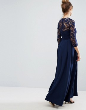 photo Lace Bodice Maxi Dress with Chiffon Skirt by Queen Bee, color Navy - Image 2