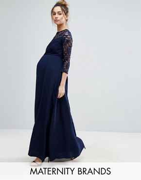 photo Lace Bodice Maxi Dress with Chiffon Skirt by Queen Bee, color Navy - Image 1