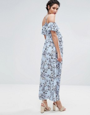 photo Floral Cold Shoulder Maxi Dress by Queen Bee, color Soft Blue - Image 2