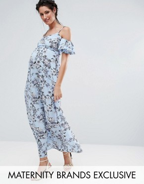 photo Floral Cold Shoulder Maxi Dress by Queen Bee, color Soft Blue - Image 1
