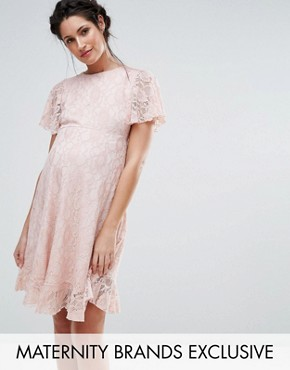 photo Lace Dress with Ruffle Hem by Queen Bee, color Pink - Image 1